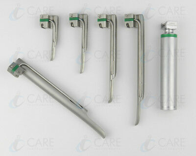 Fiber Optic Miller laryngoscope Set Blades No: 0,1,2,3,4 LED Batter Handle