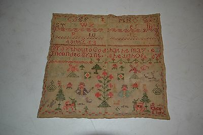 1800's Sampler with people, animals, trees and etc.