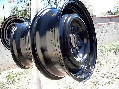 "1967 mustang 14"" steel rims with hub caps oem five lug"