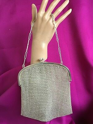 Antique British Sterling Silver Chain Mail Mesh Chatelaine Handbag - London 1921