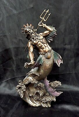 Bronze Coated Cold Cast Statue Of Greek God Of The Sea POSEIDON 29cm H