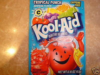 10 Kool Aid Drink Mix TROPICAL PUNCH powdered vitamin c popsicle flavor New!