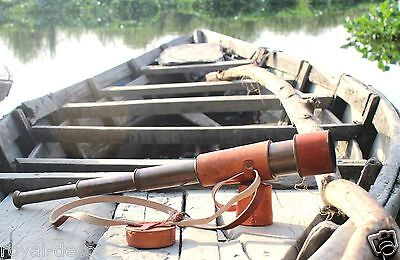 Tube telescope nautical brass monocular leather handled vintage instrument gifts