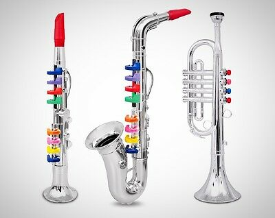 Set of 3 Toy Music Instruments Clarinet Saxophone Trumpet Combo Child Kids Gift