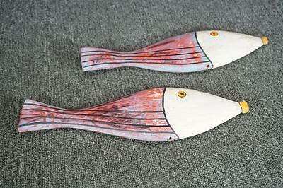 Pair Of Wooden Decorative Fish Hand Painted