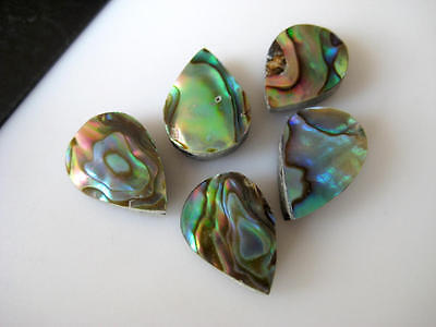 5 Pieces Natural Mother of Pearl Pear Shaped Cabochons Flat Back 9x13mm BB151