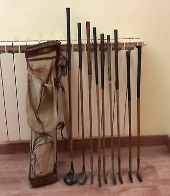 Sacca golf 1920 in canvas e pelle + 2 legni, set 6 ferri e 1 put - Shaft legno