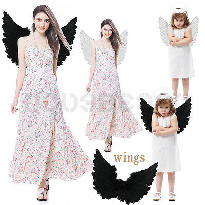 Adult & Kids Large White Black Feather Angel Halloween Costume Wings Fancy Dress