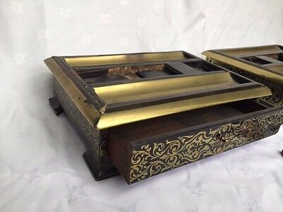 two george IV brass double marquetry ebony inkstands