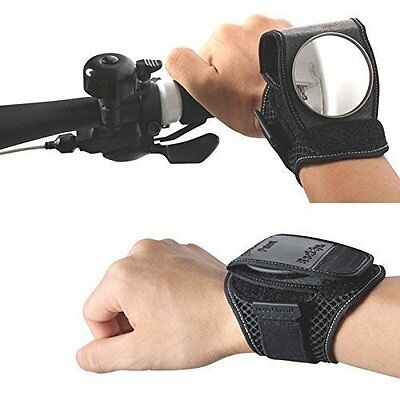 Cycling Bicycle Bike Rear View Mirror Wrist Guards Wristbands Back Mirror Black