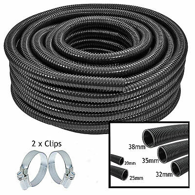 UNIVERSAL Pond Hose Corrugated Flexible Filter Pipe Flexi Tube + 2 Clamps Clips
