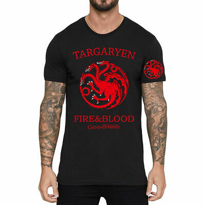 FIRE BLOOD Game of thrones Targaryen Printed Men T-Shirt Cotton Short Sleeve Top