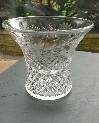 Stuart Crystal Vase, stunning design, Victoria cut with flowers, Signed 11.5cm