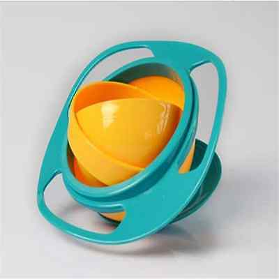 Spill-Proof Food Gyro Feeding Bowl Dish 360 degree Rotate lid Baby Kid Childr TQ