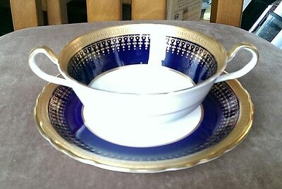 Rare Aynsley Hertford Cobalt Blue and Gold Two handled Soup Bowl, VGC, 7081,