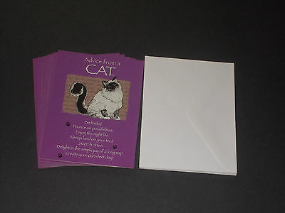 8 Loose Leanin Tree Advice From A Cat Blank Inside Note Cards + Envelopes
