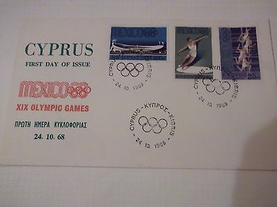 First Day Cover Cyprus - Mexico XIX Olympic Games 1968