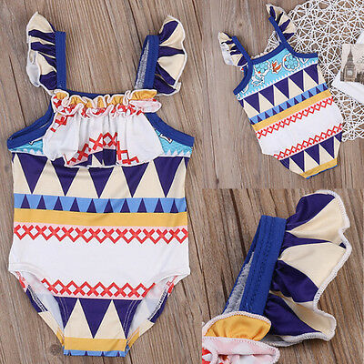 Toddler Kids Baby Girls Swimsuit One Piece Swimsuit Swimwear Beachwear UK Stock