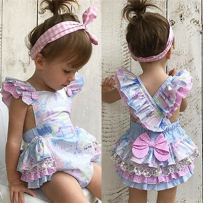 UK Newborn Baby Girls Sequin Lace Jumpsuit Floral Romper Bodysuit Outfit Sunsuit