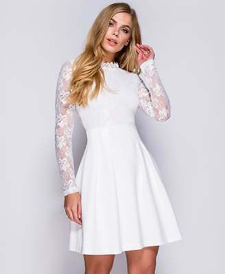 Ladies Woman's White Long Sleeve Lace Skater Dress size 8 10 12