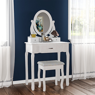 Nishano Dressing Table 3 Drawer Stool Mirror Bedroom Furniture Makeup Desk White