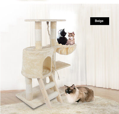 96cm High Double-deck Cat Tree for Kitten Claw Climb Pounce and Hide Beige UK