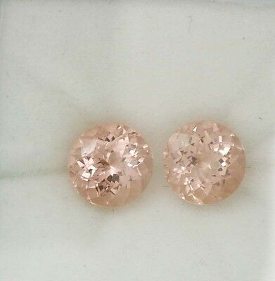 Natural Gemstone Pair Certified Pink Peach Morganite Round Cut 9mm 5.76Cts