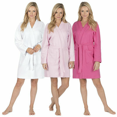 Ladies Light Lightweight Summer Hotel Spa Waffle Bath Robe Cotton Dressing Gown