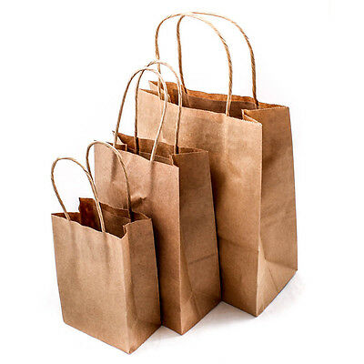 Brown Plain Kraft Paper Birthday Party Gift Bags W/ Handles Shop Bag Pouch A1920