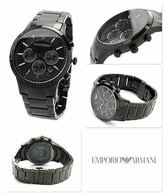 Mens Emporio Armani Ar2453 Black Dial Stainless Steel Chronograph *watch Only*