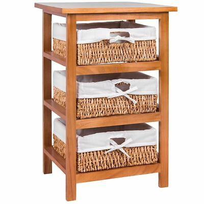 3 Drawer Wood Maize Basket Drawers Brown Cupboard Cabinet Unit By Home Discount
