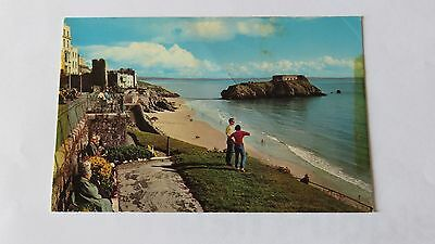 Postcard Tenby, South Sands & St. Catherines Island. Posted 1973.