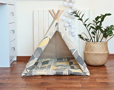 Pet teepee with poles and mat, dog teepee, cat teepee, dog house, cat house