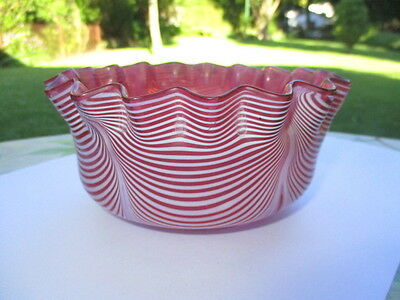 Antique Nailsea Stevens & Williams Cranberry Glass Bowl Pull Up White Swag