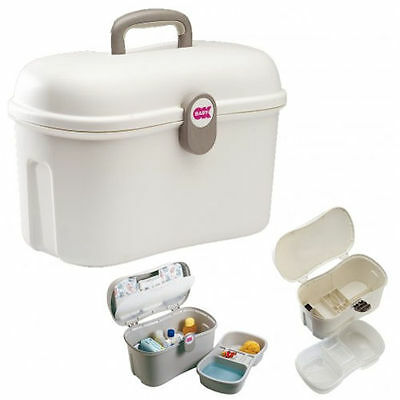 New Ok Baby Beauty Care Baby Bath Time Vanity Case Accessory Storage Box White