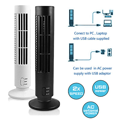 Mini USB Powered Tower Fan Bladeless 2 Speed Air Cooler Home Office Portable Fan