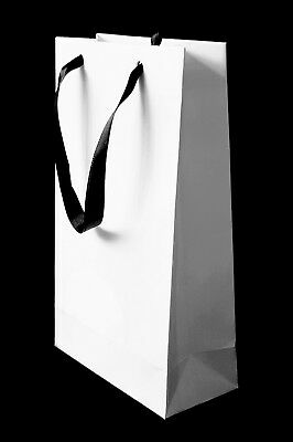 10 Luxury White Small Paper Gift Party Bags Satin Handles Hen Wedding Birthday