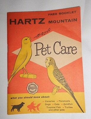 Vtg Hartz Mountain Pet Care Booklet 48 pgs Birds Fish Dogs Cats Canaries 1940's?