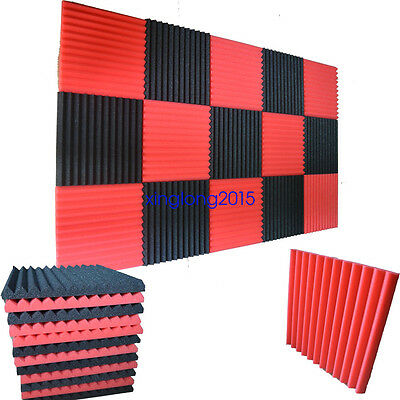 12 Pack Wedge RED/CHARCOAL Acoustic Soundproofing Studio Foam Tiles 1 x 12 x 12