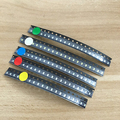 100pcs 5 Values 0805 SMD LED light Red White Green Blue Yellow Assortment Kit