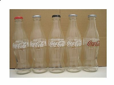 Cyprus-  Gr 2017   Coca Cola  5 Empty Glass Bottle & 5 Differed Caps