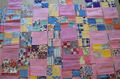 80 quilt blocks,1940's, 4 Patch in strips with Pink, Disney print, victory print