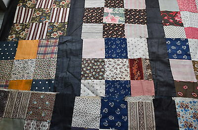 31 1870-80's 9 Patch quilt blocks, sewn into strips, fabulous prints