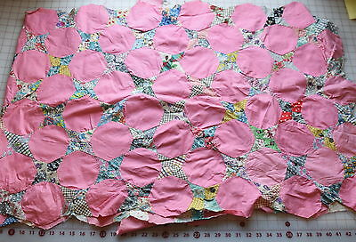 Large piece of 1940-50's Snowball Quilt top, solid pink, many nice prints