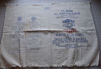 """Printed cotton flour sack,""""Donated by the People of the USA"""", famine relief"""
