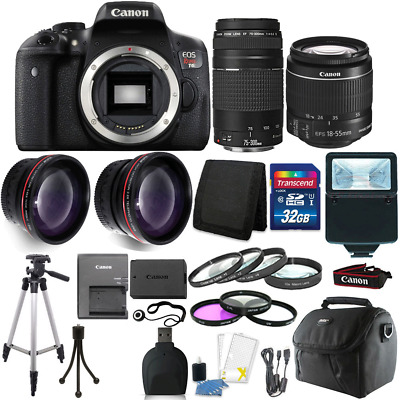 Canon EOS Rebel T6 DSLR Camera + 18-55mm + 75-300mm Lens + 32GB Accessory Kit