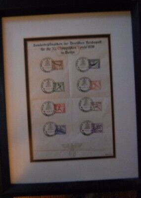 8 Nazi 1936 Olympic Stamps-Framed-Great Condition