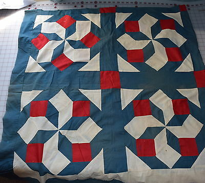 1890-1900's Carpenter's Wheel quilt top, solid green, white, red, very graphic