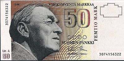 FINLAND BANKNOTE 50 P118 1993 aAU 1/40 TYPES THIS PICK SORSA/HEINONEN
