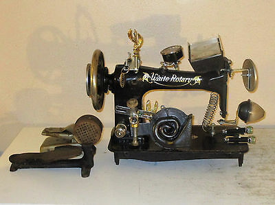 """ANTIQUE SEWING MACHINE ART """"Buick White Rotary Vehicle"""" SCULPTURE STEAMPUNK"""